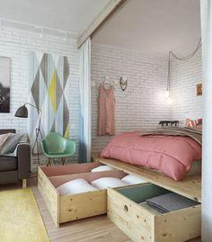Wer bauen kann, ist klar im Vorteil: Bett mit Extra-Stauraum.