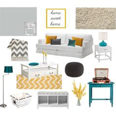 """""""Teal, yellow, and grey living room"""" by missmelwrites on Polyvore"""