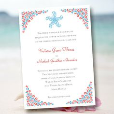 !!I LOVE THIS ONE AND ITS SO CHEAP! Wedding Invitation Template Beach Starfish by WeddingTemplates, $8.00