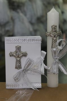 Items similar to Mercy: Baptism, First Communion Candle Set on Etsy Baptism Candle, Candle Box, Prayer Book, First Communion, Pillar Candles, Christening, Big Day, Gift Wrapping, Diy Crafts