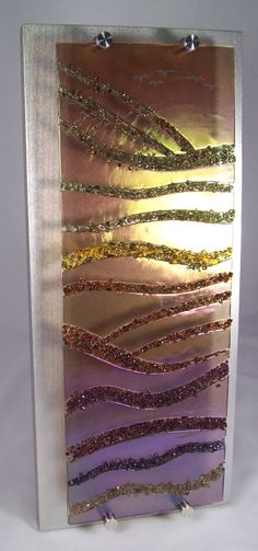 Fused Glass Wall Hanging with stand-offs to let the light shine through! www.glassbysharona.com