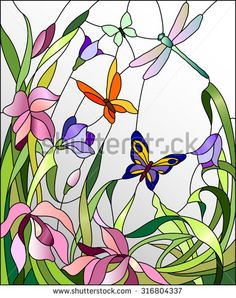 stock-vector-stained-glass-window-with-flowers-and-butterflies-316804337.jpg (371×470)