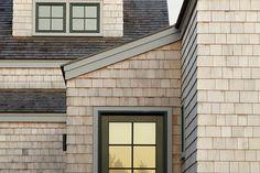 shingle + green window frame