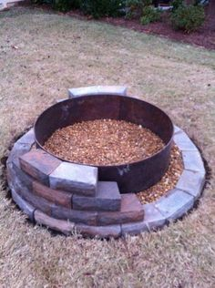 Building a fire pit - outdoors, woods, nature, relaxing.