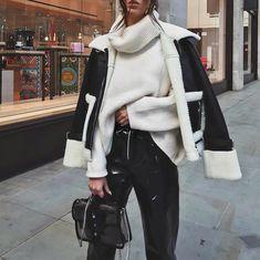 Looks com jaqueta Shearling - Glanz Winter Outfits Women, Winter Fashion Outfits, Look Fashion, Autumn Winter Fashion, Fall Outfits, Womens Fashion, Classy Winter Outfits, Fashion Mode, Winter Jackets Women