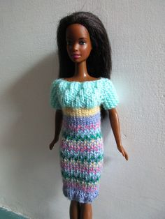 Barbie clothes - multi-coloured dress by HillCrestBarbies on Etsy https://www.etsy.com/listing/450266736/barbie-clothes-multi-coloured-dress