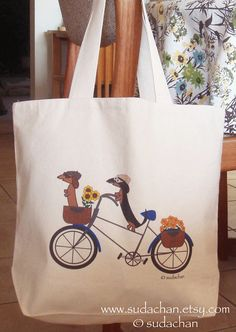 Dachshunds on Bicycle Large Canvas Natural Tote Bag by sudachan, $25.00