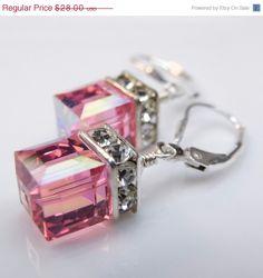 Pink Crystal Earrings Swarovski Cube Sterling Silver by fineheart