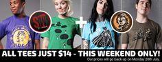 Captain Feline & Saucewear Weekend Sale - All tees Just $14!