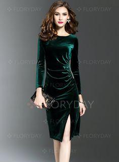 Dress - $40.99 - Velvet Solid Long Sleeve Knee-Length Dresses (1955192877)