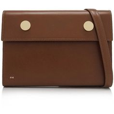 RSVP Paris Clutch (2,415 MYR) ❤ liked on Polyvore featuring bags, handbags, clutches, brown, shoulder strap handbags, magnetic closure handbags, shoulder strap purses, brown purse and brown handbags