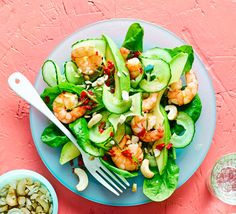 A simple prawn salad to make the most of your spiralizer. Slices of chunky avocado and ribbons of cucumber make a great mix of textures and flavours