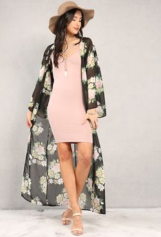 Floral Longline Kimono with blush pink dress