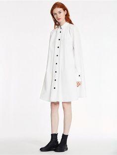 Calvin Klein Soft Dense Poplin Long Sleeve Dress
