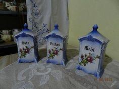 Sada 3 hezké staré kořenky Salz Zucker Mehl Decor, Vinegar, Sugar, Decoration, Decorating, Deco