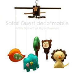 SAFARI QUEST V1 Baby Mobile Artist Choice Colors  by GiftsDefine