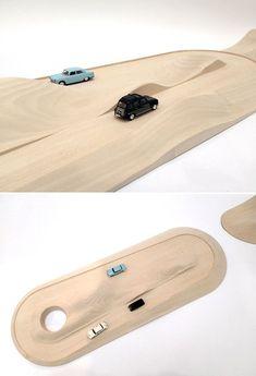 Modern Wooden Toy Car Track & Mountain. pista per macchinine giocattolo in legno con collinette #cartrack