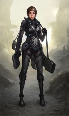 Red Tech Sci Fi by Zeronis on DeviantArt Futuristic Armour, Futuristic Art, Character Concept, Character Art, Concept Art, Female Armor, Sci Fi Armor, Cyberpunk Character, Gothic