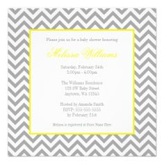 Modern Chevron Yellow Gray Baby Shower more sophisticated Invitation