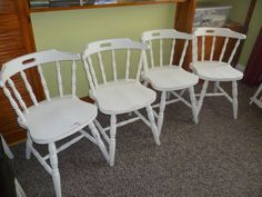 4 x Shabby Chic Solid Wood Captains Chairs up-cycled in Original White on Gumtree. All chairs have been hand painted in 2 coats of Original White Annie Sloan chalk paint, distressed a