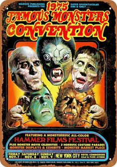 1975 Monsters Convention New York City Vintage Look Metal Sign