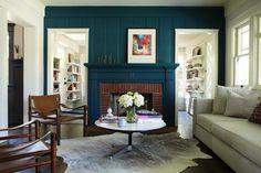 California Craftsman, Bungalow, deep blue green painted fireplace surround
