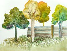 Landscape Painting  Original Watercolor  Rustic by FluidColors, $32.00