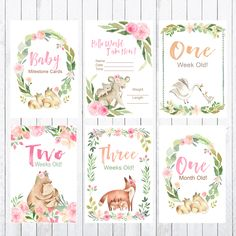 Baby Milestone Cards, 4x6 Cards, Photo Props, Woodland Animals My First Easter, First Baby, Bridal Shower Games, Baby Shower Games, One Month Old, Baby Milestone Cards, Baby Milestones, Woodland Animals, Nursery Prints
