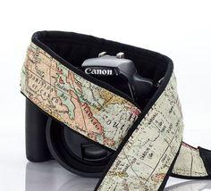 Camera Strap Vintage Style Old World Map dSLR Camera Neck by ten8e
