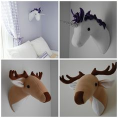Unicorn and Deer Plush Taxidermy - PDF Sewing Pattern with Step-by-Step Photos and Easy Instructions by whileshenaps on Etsy https://www.etsy.com/listing/182543451/unicorn-and-deer-plush-taxidermy-pdf