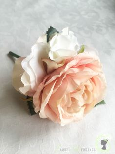 Blush two tone rose buttonhole with hydrangea