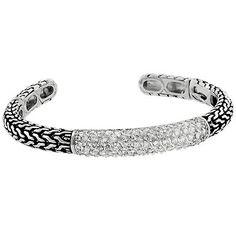 Antiqued CZ Snap Cuff Bracelet