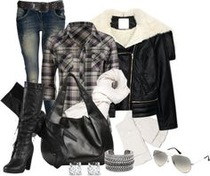 """outfit"" by michelerussell on Polyvore.... replace boots with black cowboy boots."