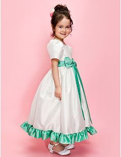 A-line/Ball Gown Jewel Ankle-length Taffeta Dress With Ribbon And Bow -