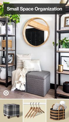 Bobby Berk's organization ideas fit full-sized style into a small space. Find shelving, ottoman storage & more. My Living Room, Home And Living, Living Room Decor, Bedroom Decor, Girls Bedroom, Wall Decor, Home Design, Home Interior Design, Interior Ideas