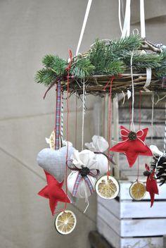 Wieniec, wianek świąteczny, pod sufit, żyrandol - ViolaSororia - Dekoracje bożonarodzeniowe