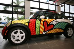 Britto mini cooper!  Despite the critics' loathe of his work, I love him!