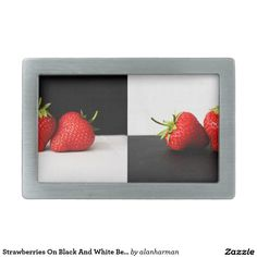 Strawberries On Black And White Belt Buckle
