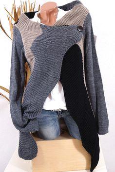 cbfcf5e8692666 STRICK CARDIGAN JACKE PONCHO ÜBERWURF MANTEL ITALY 36 38 40 SCHWARZ GRAU  KS475 #Blogger #Fashion #Damenmode #Cardigan #Strickjacke