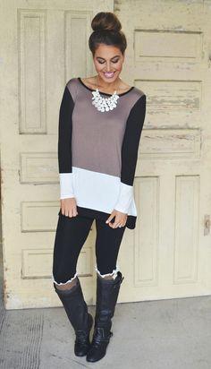 Mocha Color Block Tunic - Dottie Couture Boutique