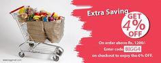 This Week BiggMart.com offers 4% Discounts, When Your total bill amount Rs-1200/- & above Code - BIGG4 www.biggmart.com