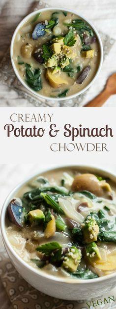 Kartoffelcremesuppe und Spinat