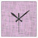 Cute Bright Baby Pink Faux Jute Fabric Pattern Square Wall Clock  #Baby #Bright #Clock #cute #Fabric #Faux #Jute #Pattern #Pink #RusticClock #Square #Wall The Rustic Clock