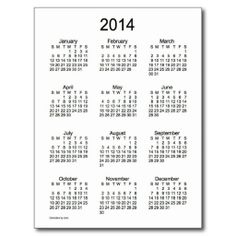 Black and White 2014 Mini Calendar Post CardDesign from Calendars by Janz