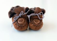 """Baby booties """"First Steps"""" crochet shoe slippers made with sheep skin by lefushop on ArtFire Boy's Clothes"""