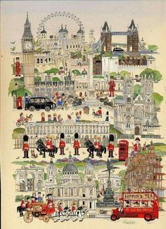 """""""No, Sir, when a man is tired of London, he is tired of life; for there is in London all that life can afford."""" ~Samuel Johnson, Illustration by Diane Elson. London England, England Uk, Voyage Sketchbook, Living In London, Travel Illustration, London Illustration, Thinking Day, England And Scotland, London Art"""