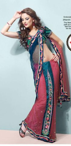 Pink And Steel Blue Net Lehenga Saree 16079 With Unstitched Blouse