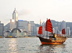 The traditional sailing junks in the harbour is one of the iconic sights of Hong Kong. Though they've been sailing since the century AD, the vessels you'll see in the harbour now are mostly for tourists. Jump on one to get a great harbour view. The Tourist, Hong Kong, Travel Baby Showers, China Crafts, Victoria Harbour, Southeast Asia, Wi Fi, Things To Do, Cloud