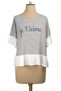 Je T'aime Top (Printed), Black & White Stripe $149, also available in Black/Brown Stripe #winterstyles #nzdesigner #winterfashion #jetaime