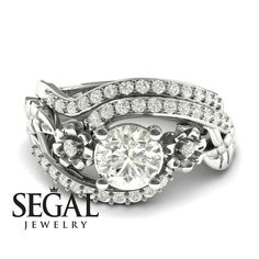 Bridal Set White Diamond rings by Segal Jewelry Unique Diamond Engagement Rings, Classic Engagement Rings, Beautiful Engagement Rings, Designer Engagement Rings, Diamond Rings, Black Diamond, Gold Ring, Bridesmaid Jewelry Sets, Bridal